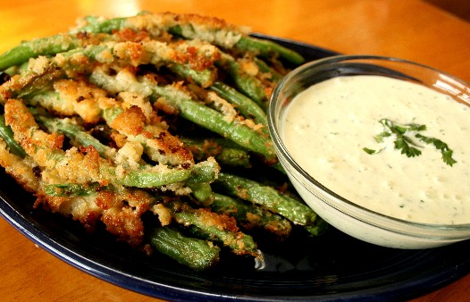 Panko Fried Green Beans with Wasabi Cucumber Ranch Dip Recipe ...