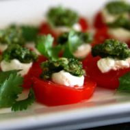 The Joy of Discovery Recipe:  Cilantro Pesto on Tomato slices