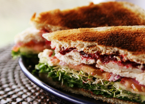 TurkeyCranberrySandwichCut1 Turkey Cranberry Sandwich Recipe