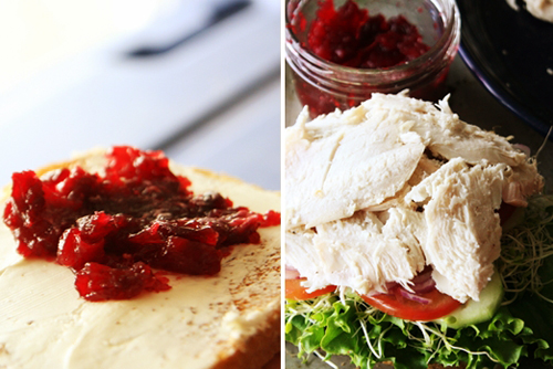 cranberryturkeysplit2 Turkey Cranberry Sandwich Recipe