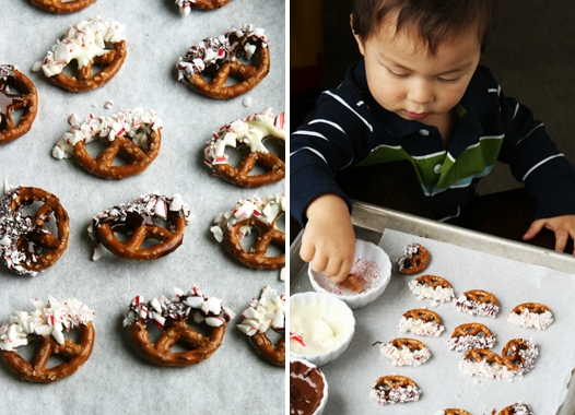 19-month Eli helps mom make no-bake peppermint chocolate pretzels