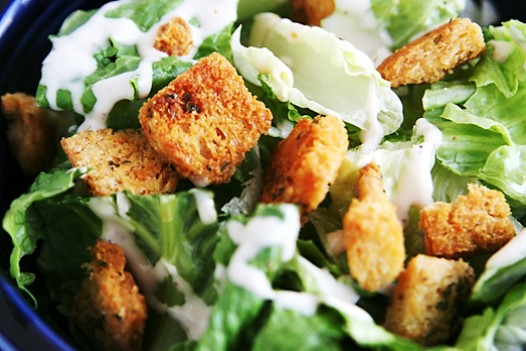croutons on salad Homemade Croutons Recipe
