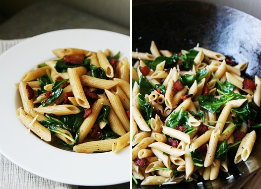 Spinach Bacon Penne Pasta