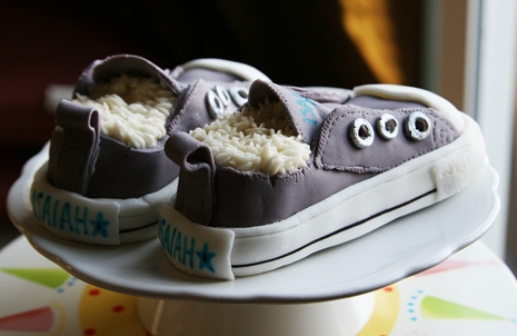 Isaiahs Shoes2 {Kids Birthday Cake Idea} Converse Sneakers Cake
