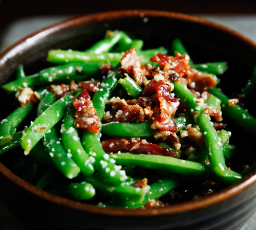 beansbaconpecans Green Beans with Bacon and Pecans