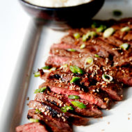 Flat Iron Steak Grilled and Cooked in a Delicious Asian Steak Marinade {Recipe}
