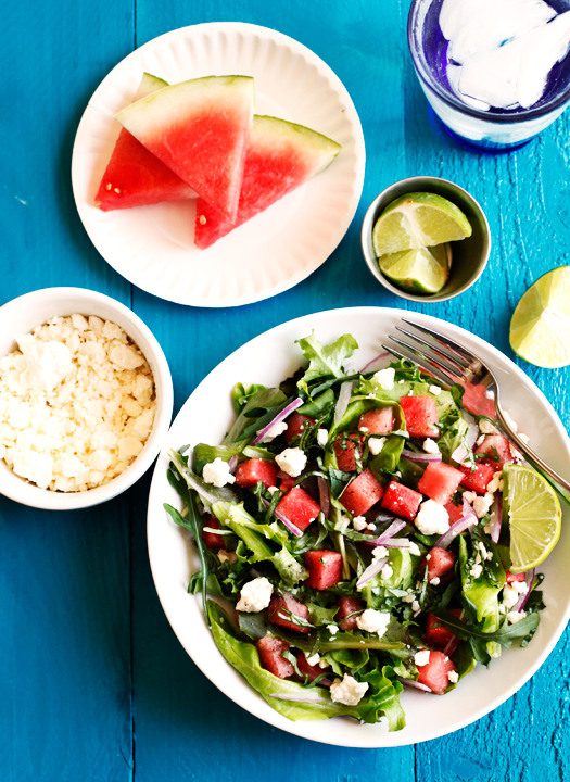 Watermelon Feta Mixed Greens Salad