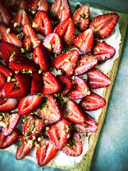 Strawberry Honey Pistachio Cream Tart