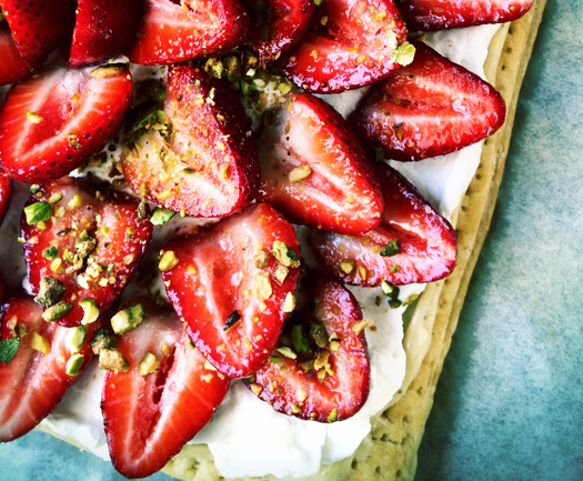 strawberry tart Strawberry Honey Pistachio Cream Tart
