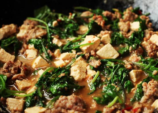mabu tofu Kale Mabo Tofu