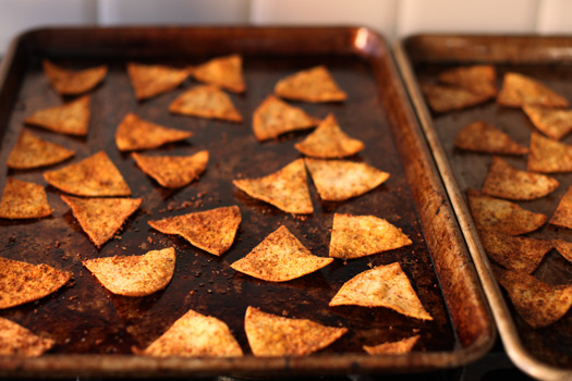 Spicy Baked Flaxseed Tortilla Chips