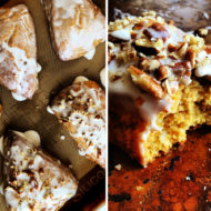 Carrot Cake Scones with Maple Pecan Cream Cheese Glaze