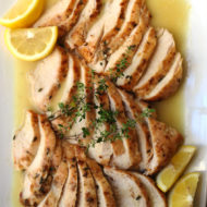 Lemon Roasted Chicken Breasts with Thyme and Pasta