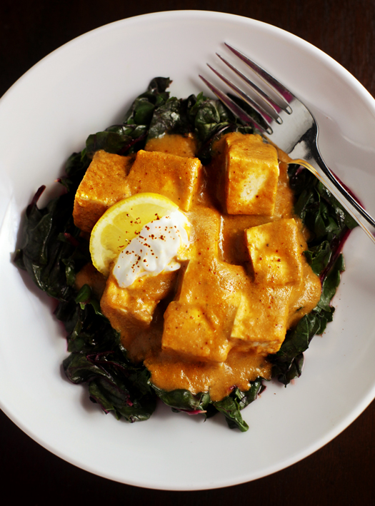 Indian Spiced Curry Tofu Over Swiss Chard