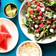 Watermelon Feta Mixed Greens Salad