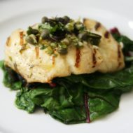 Easy Summer Dinner: Grilled Halibut with Lemon-Basil Vinaigrette