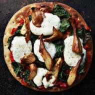 Chantrelle Mushroom and Kale Pizza