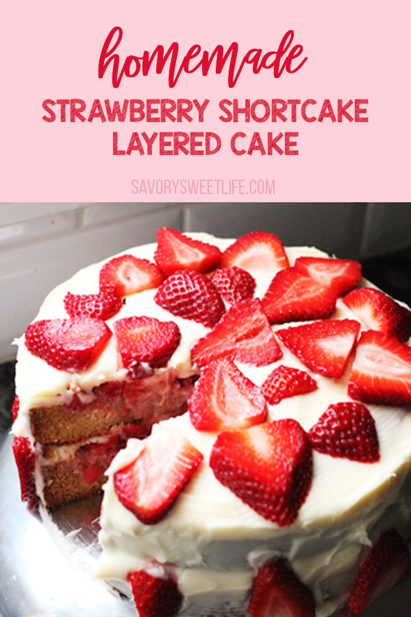 Homemade Strawberry Shortcake Cake is the perfect cake for any occasion. Layers of vanilla butter cake, homemade cream cheese frosting, and fresh sweetened Strawberries. You'll want to add this Strawberry Shortcake Recipe to your family collection! #strawberry #cake #ThePioneerWoman #shortcake
