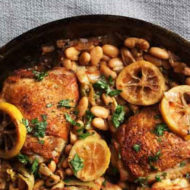 Crispy Chicken Thighs with Lemon, Artichokes, and Beans