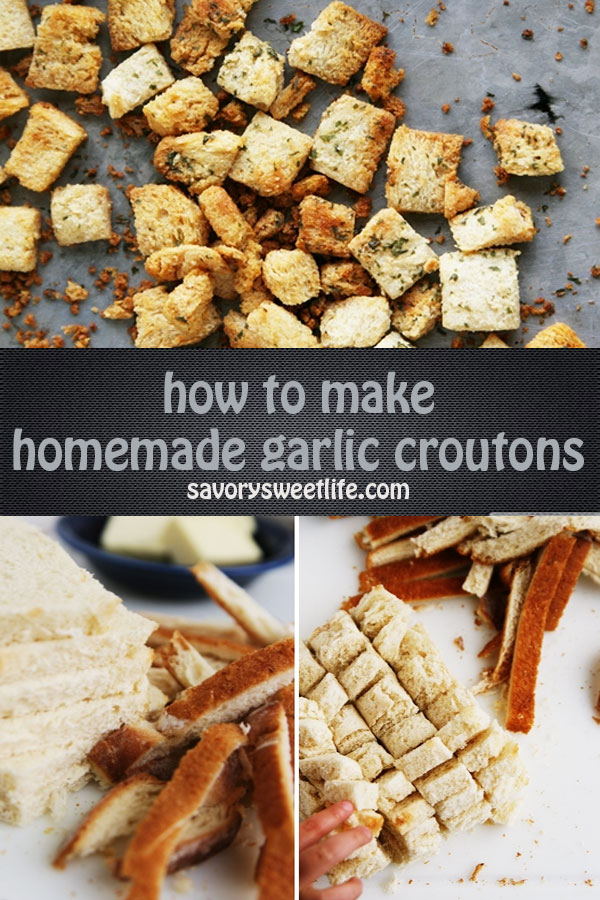 Before you throw out your day old bread, even hotdog buns, repurpose them into fresh seasoned garlic croutons. Add your homemade croutons to soups and salads for added texture, or as a delicious snack.